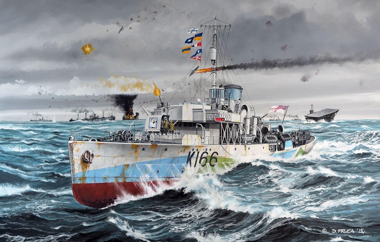 Photo wallpaper ship, art, Navy, corvette, the battle, military, Corvette, British, WW2, HMCS, Snowberry