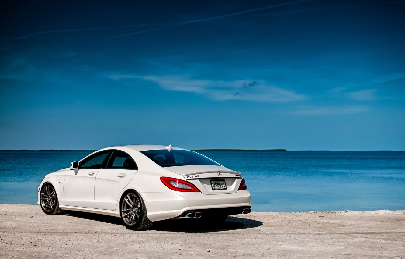 Photo wallpaper white, the sky, water, shore, Mercedes-Benz, Mercedes, rear view, AMG, CLS63, AMG, ЦЛС63