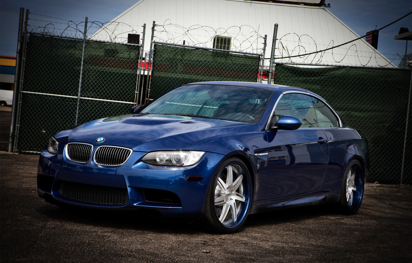 Photo wallpaper blue, reflection, the fence, BMW, BMW, blue, barbed wire, E93, Cabrio