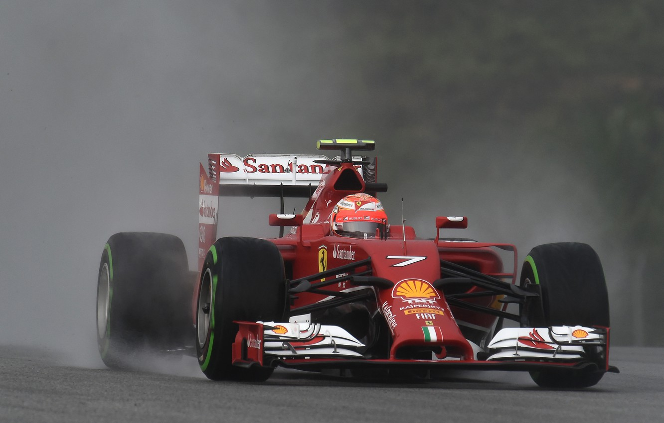 Photo wallpaper rain, ferrari, formula 1, kimi raikkonen also, f14t
