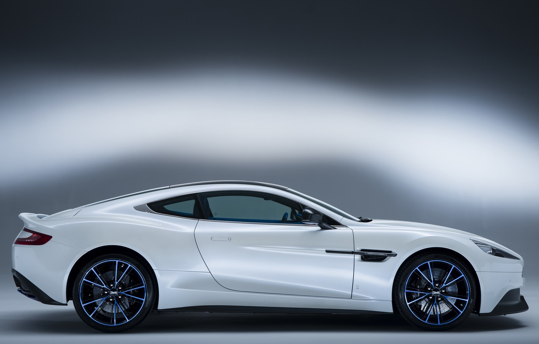 Photo wallpaper auto, white, Aston Martin, side view, Vanquish Q