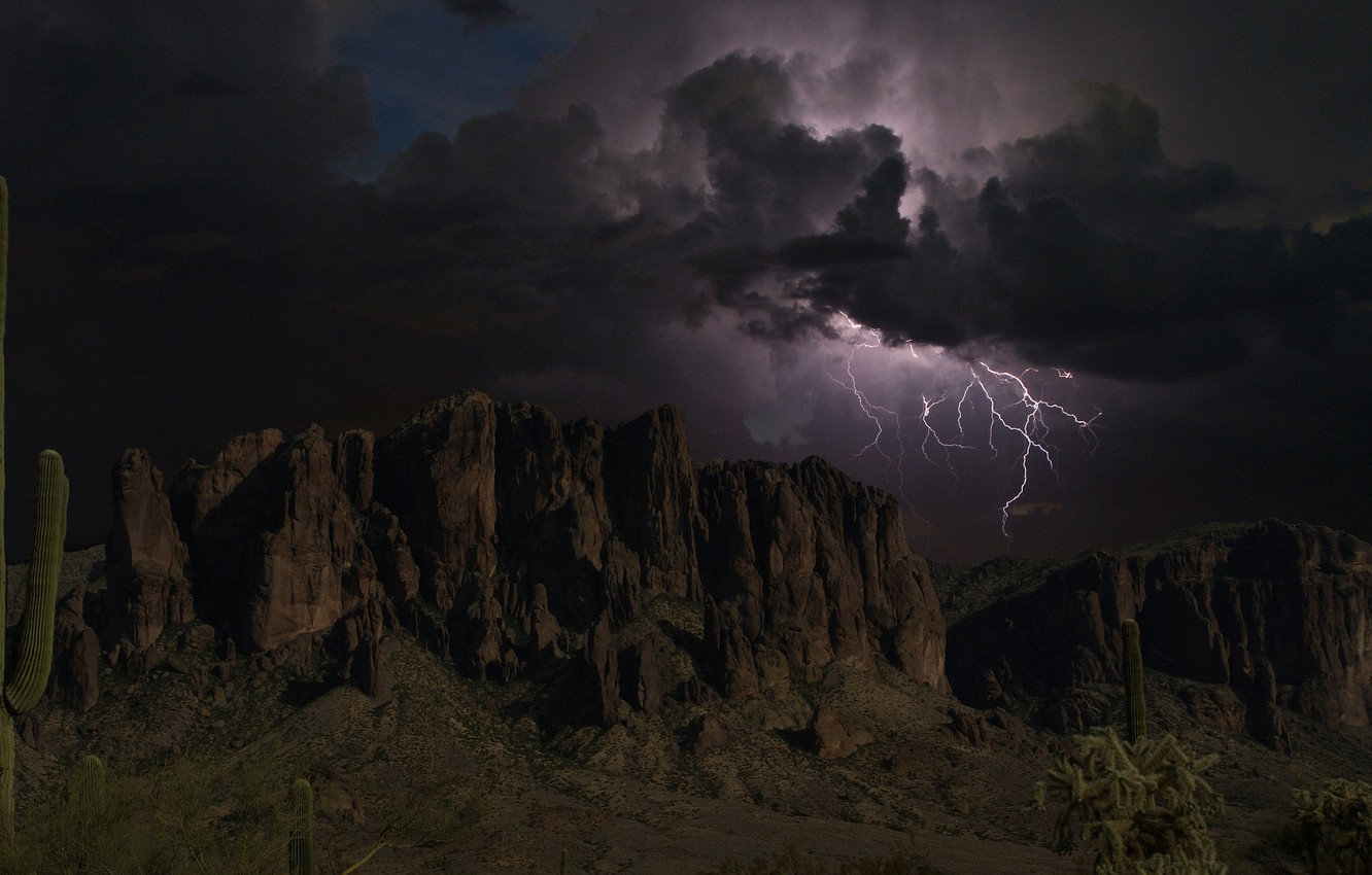 Photo wallpaper the storm, the sky, clouds, mountains, clouds, rocks, lightning, silhouettes, Arizona