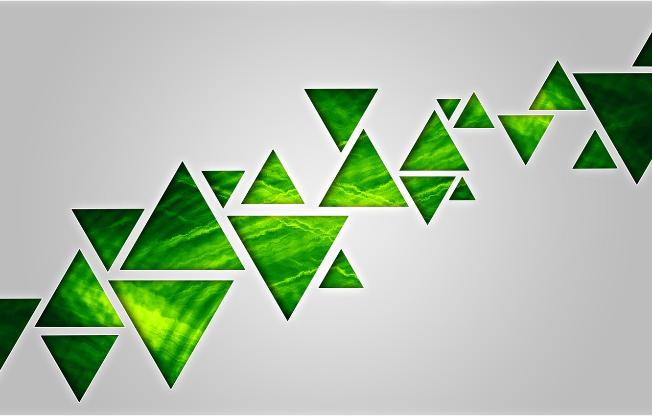 Photo wallpaper background, triangles, green