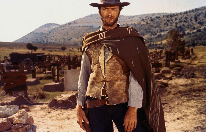 Photo wallpaper weapons, hill, cemetery, actor, evil, gun, treasure, revolver, actor, Western, good, Clint Eastwood, bad, coat, …