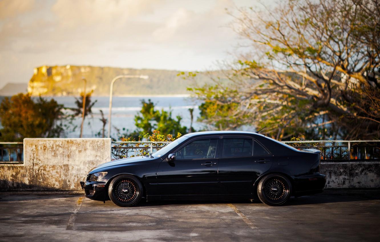 Photo wallpaper black, tuning, Lexus, profile, black, Lexus, is200