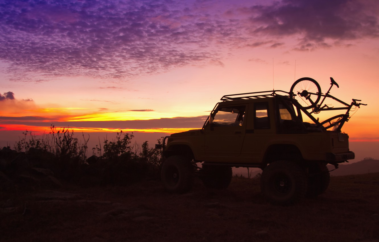 Photo wallpaper sunset, nature, bike, background, the evening, silhouette, jeep, SUV, Parking, the trunk, journey, bike, beautiful, …