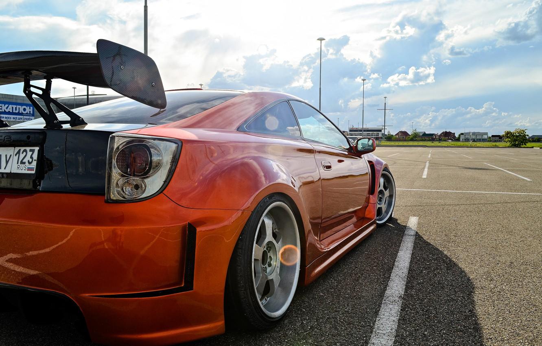Photo wallpaper Toyota, orange, Celica