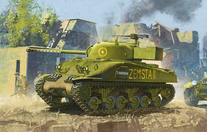 Photo wallpaper war, art, painting, tank, ww2, Sherman Firefly