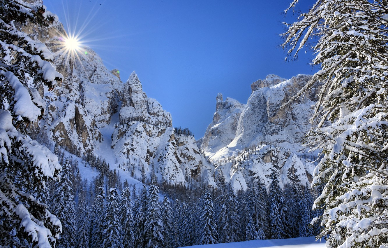 Photo wallpaper winter, landscape, mountains