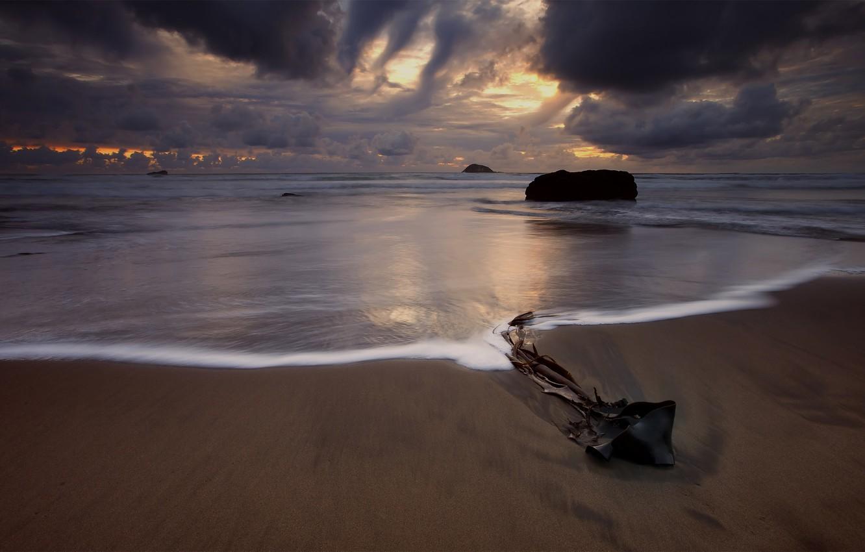 Photo wallpaper sand, sea, the sky, water, clouds, sunset, Beach, New Zealand