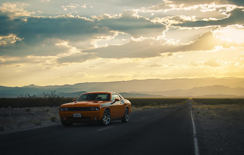 Photo wallpaper road, the sun, clouds, hills, lights, silhouette, wheel, Dodge, Challenger