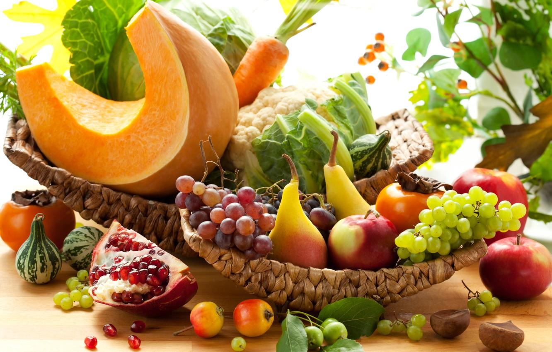 Photo wallpaper autumn, apples, grapes, pumpkin, fruit, vegetables, pear, carrots, cabbage, garnet, persimmon