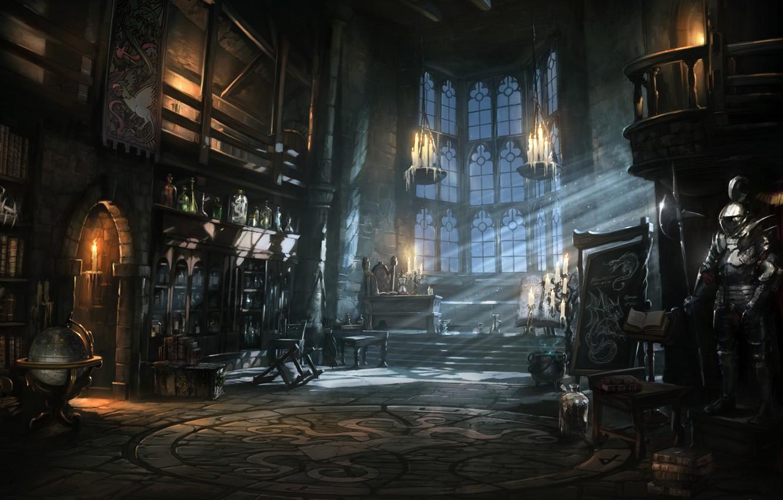 Photo wallpaper night, castle, books, armor, candles, art, jars, library, knight, globe, potion, Book of Spells, Wonderbook