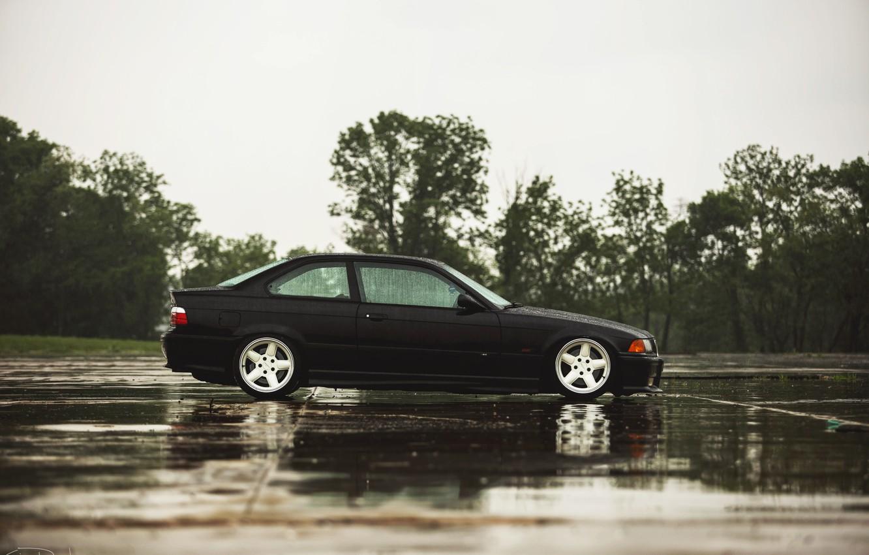 Photo wallpaper rain, BMW, coupe, BMW, black, black, E36