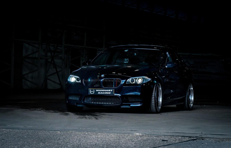 Photo wallpaper black, bmw, BMW, black, the front, f10, daylight