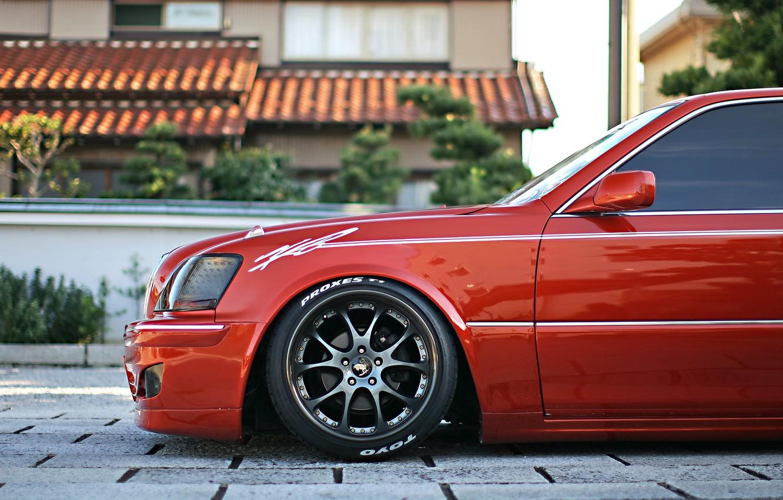 Photo wallpaper Red, Toyota, Tuning, Crown, Wheels, Rims, Japanese, VIP Style, Majesta