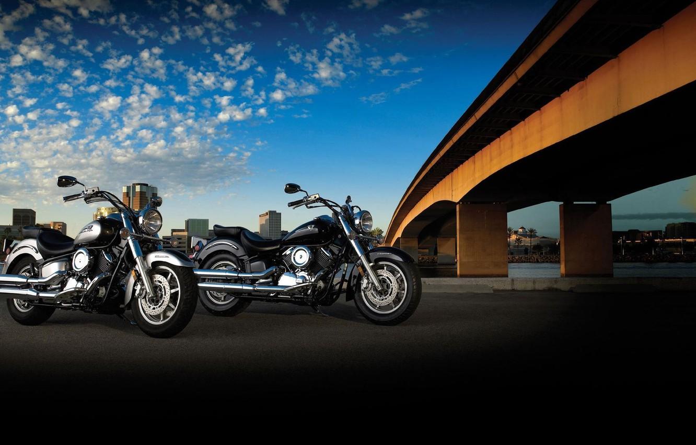 Photo wallpaper road, bridge, motorcycle