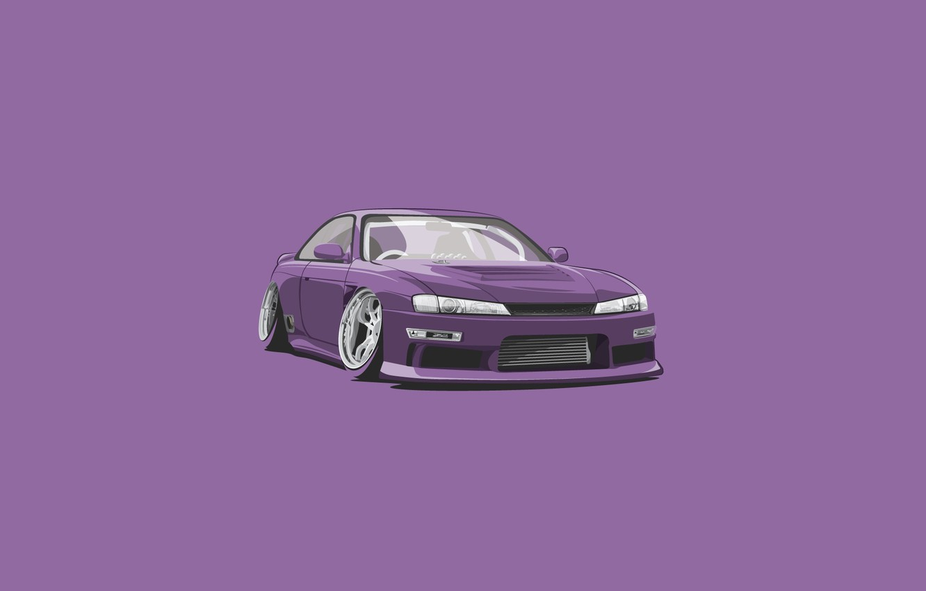 Photo wallpaper S15, Silvia, Nissan, Car, Purple, Minimalistic