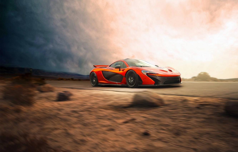 Photo wallpaper McLaren, Orange, Car, Speed, Front, Beauty, Supercar