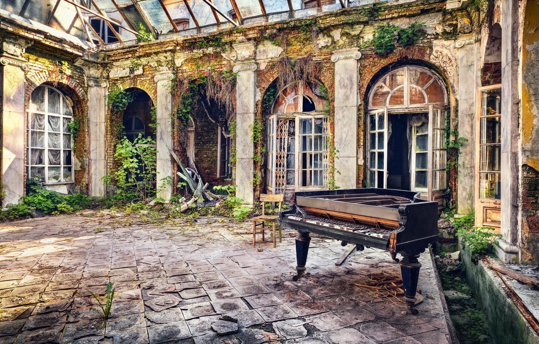 Photo wallpaper music, background, piano, yard