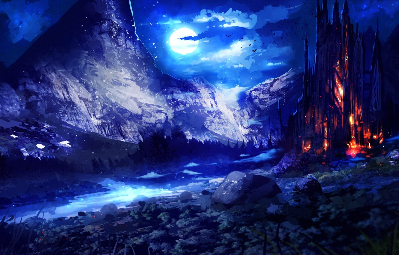 Photo wallpaper the sky, night, fiction, the moon, art