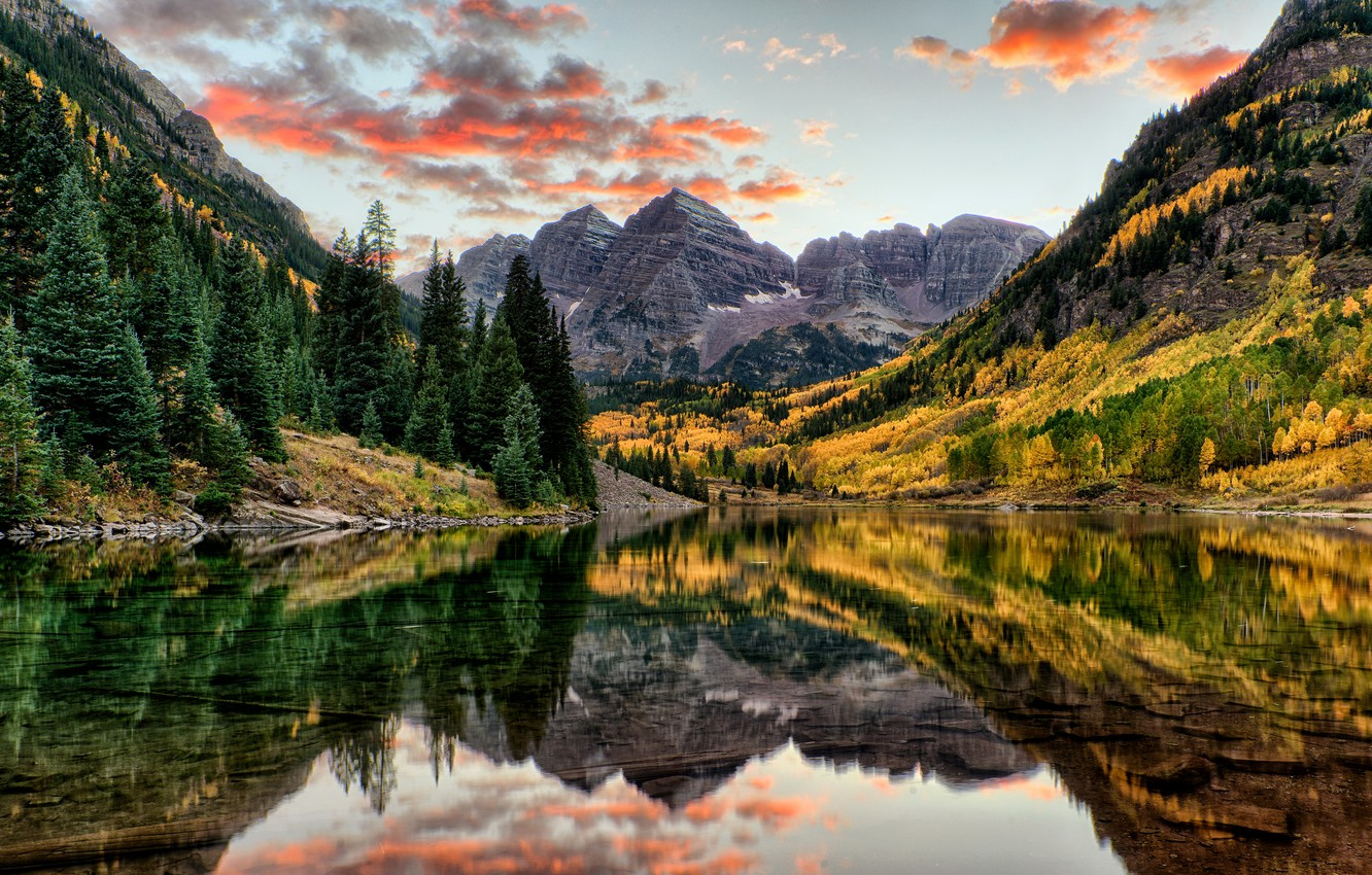 Photo wallpaper autumn, forest, water, trees, mountains, lake, reflection, rocks, USA, Colorado, Maroon Bells