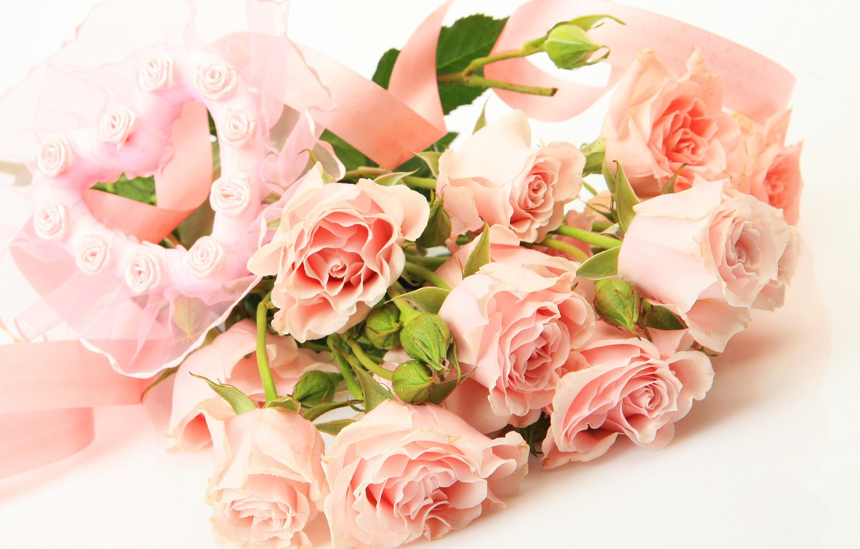 Photo wallpaper flowers, heart, roses, bouquet, heart, bouquet, roses, tea