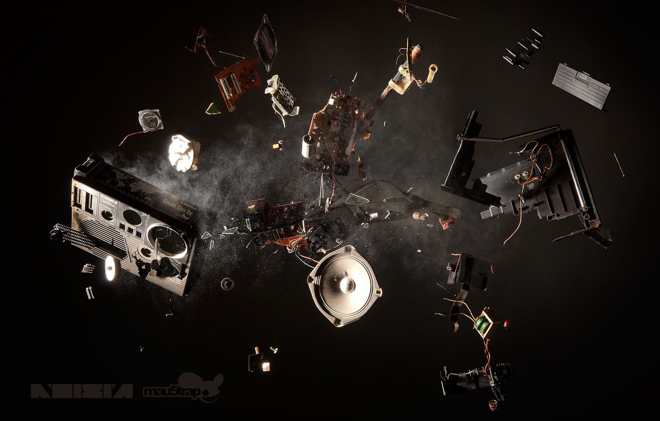 Photo wallpaper the explosion, fragments, music, dust, music, speaker, Noisia, tape, Boombox, radio, Could This Be, CTB, …