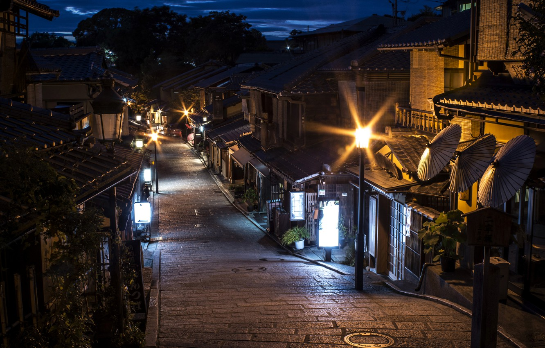 Photo wallpaper night, lights, home, Japan, lights, Kyoto, street