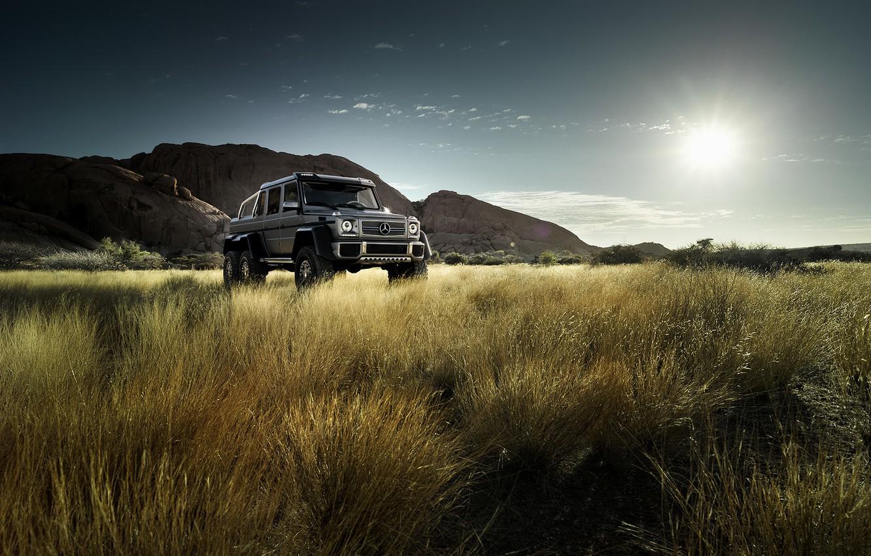 Photo wallpaper field, the sun, mountains, Mercedes-Benz, AMG, Mercedes Benz, silvery, G63, 6x6, W463