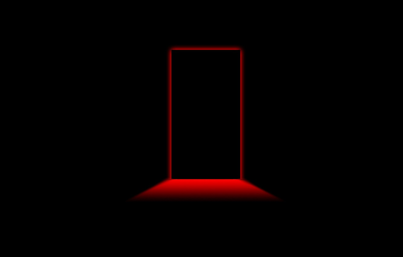 Photo wallpaper Minimalism, Red, Black Style, Black Background, Minimalism, The Door To The Red Room
