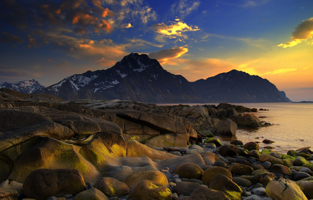 Photo wallpaper sea, the sky, water, clouds, snow, landscape, sunset, mountains, nature, stones, the ocean, paint, shore, …