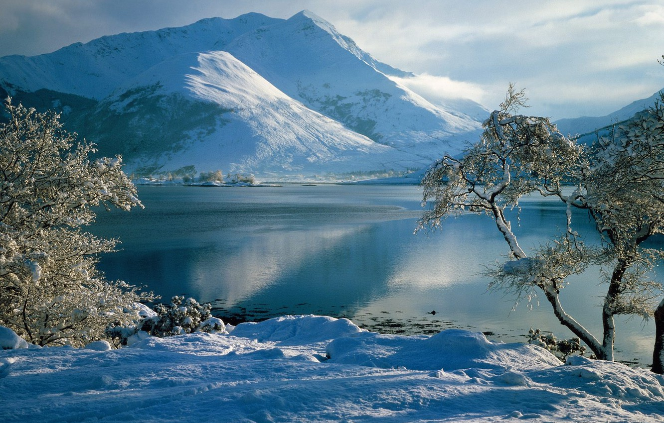 Photo wallpaper winter, frost, the sky, snow, trees, mountains, river