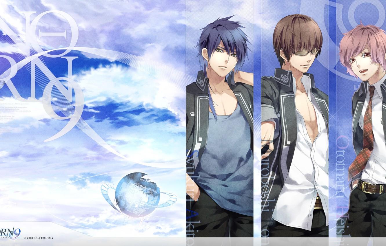 Photo wallpaper the sky, glasses, three, art, students, visual novel, otomaru heishi, syukuri akito, ron muroboshi, teita …