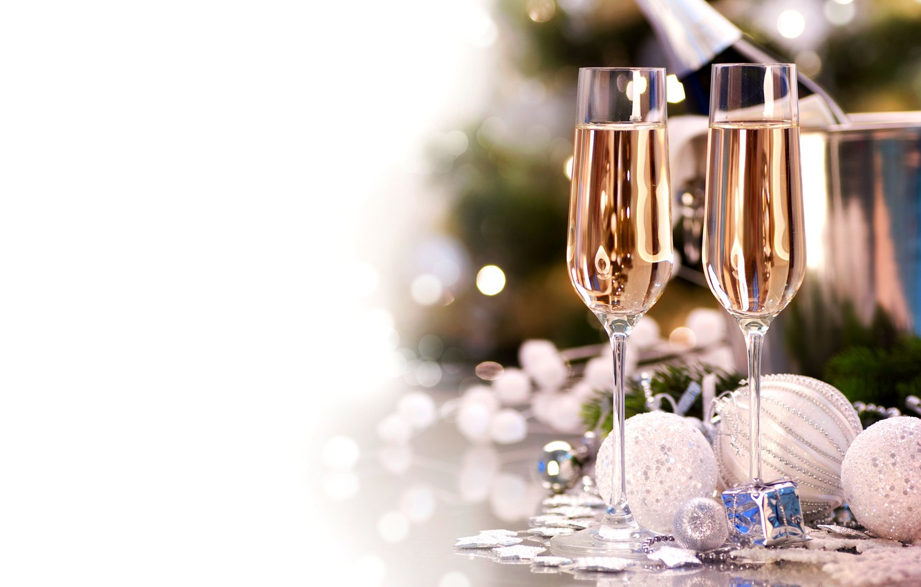 Photo wallpaper balls, toys, New Year, glasses, Christmas, the scenery, white, champagne, holidays, Christmas