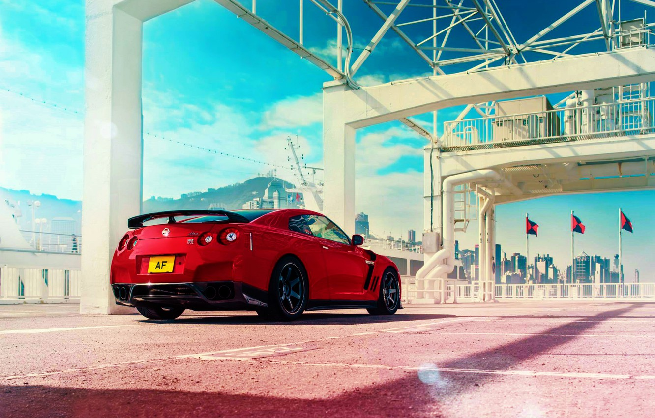 Photo wallpaper Japan, Nissan, Red, GT-R, Car, Sky, R35, Sport, Rear