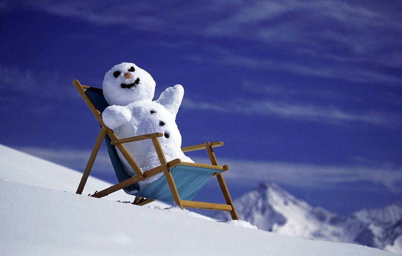 Photo wallpaper the sun, snow, mountains, new year, snowman