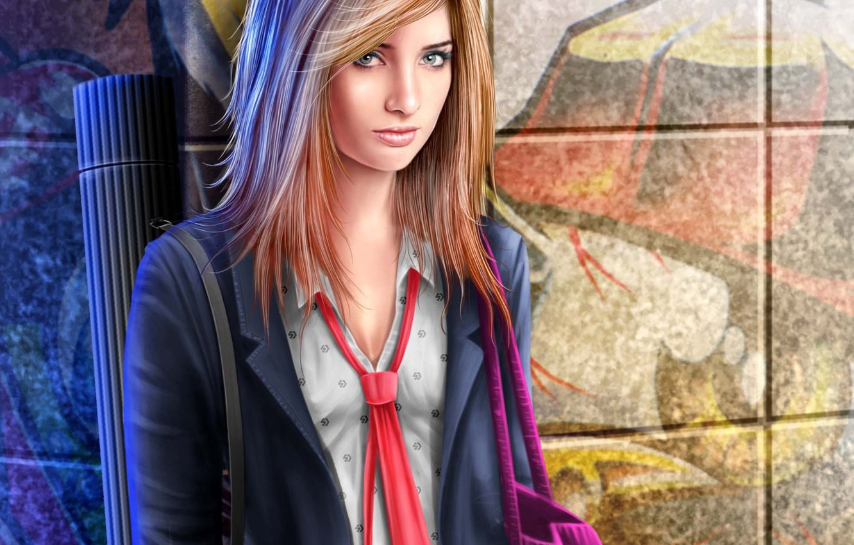 Photo wallpaper girl, wall, art, form, schoolgirl, bag