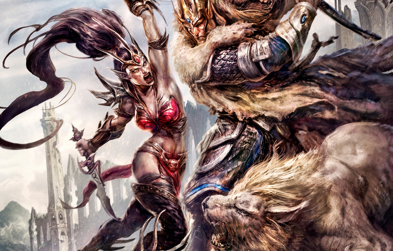 Photo wallpaper girl, weapons, Leo, warrior, dagger, male, battle, Age of Reckoning, Warhammer Online
