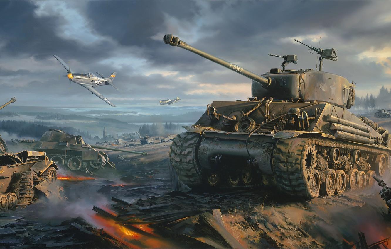 Photo wallpaper war, art, painting, ww2, Movie, P-51 Mustang, Fury, Sherman tank