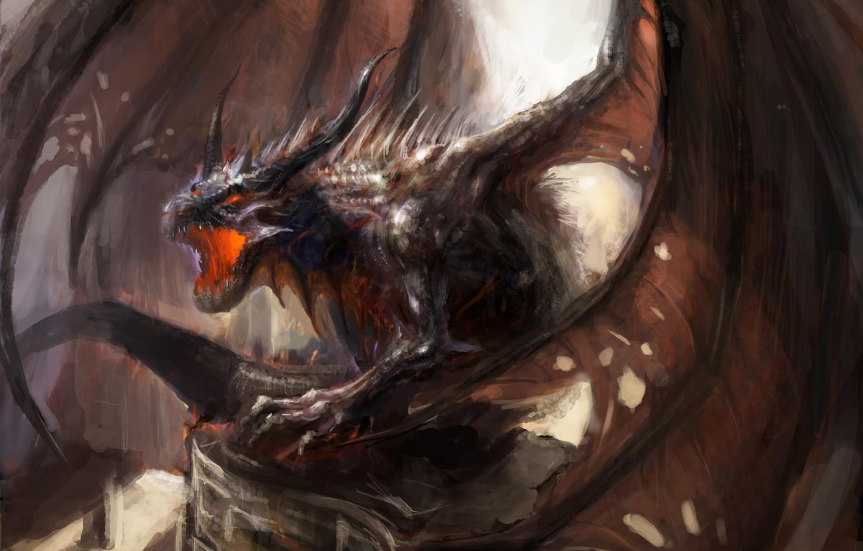 Photo wallpaper fiction, dragon, wings, art, mouth, horns