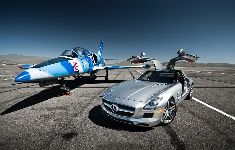 Photo wallpaper the plane, Mercedes-Benz SLS AMG, Aero L-39 Albatros