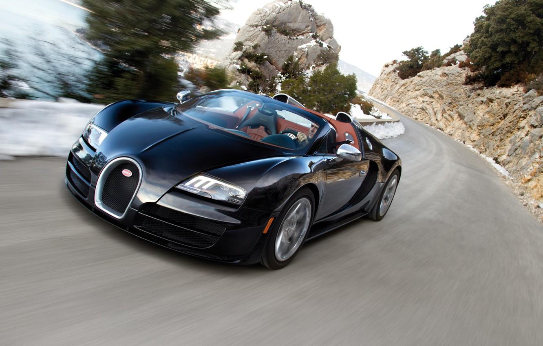 Photo wallpaper road, machine, turn, turn, Bugatti, car, Grand Sport, Vitesse