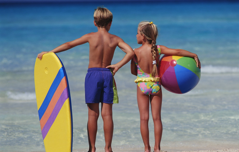 Photo wallpaper sea, children, background, mood, stay, Wallpaper, boy, girl