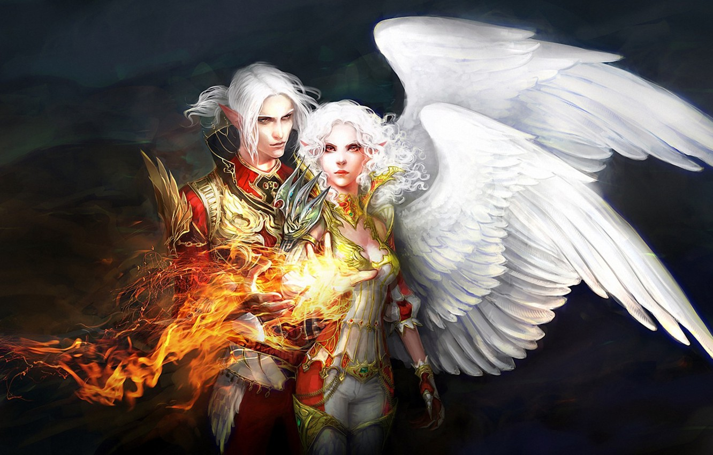 Photo wallpaper girl, fire, magic, wings, art, guy, anndr, Kamaels