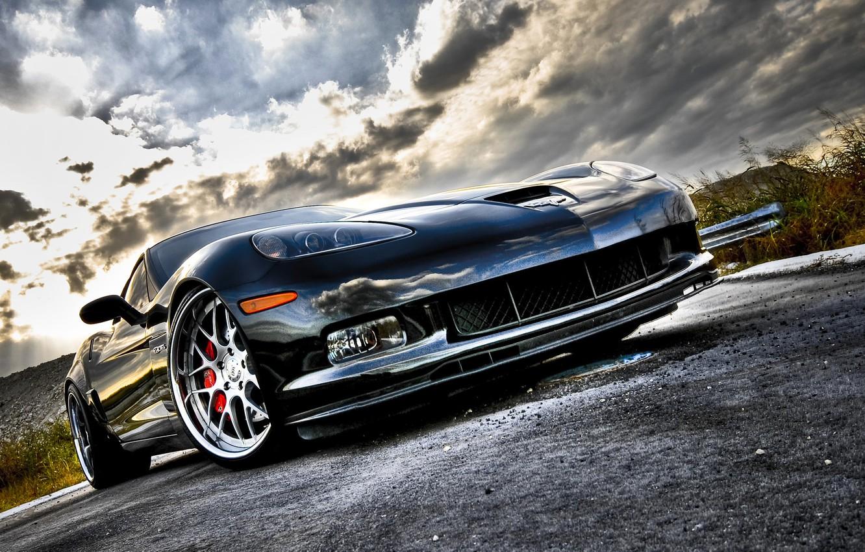 Photo wallpaper road, corvette, chrome, chevrolet, road