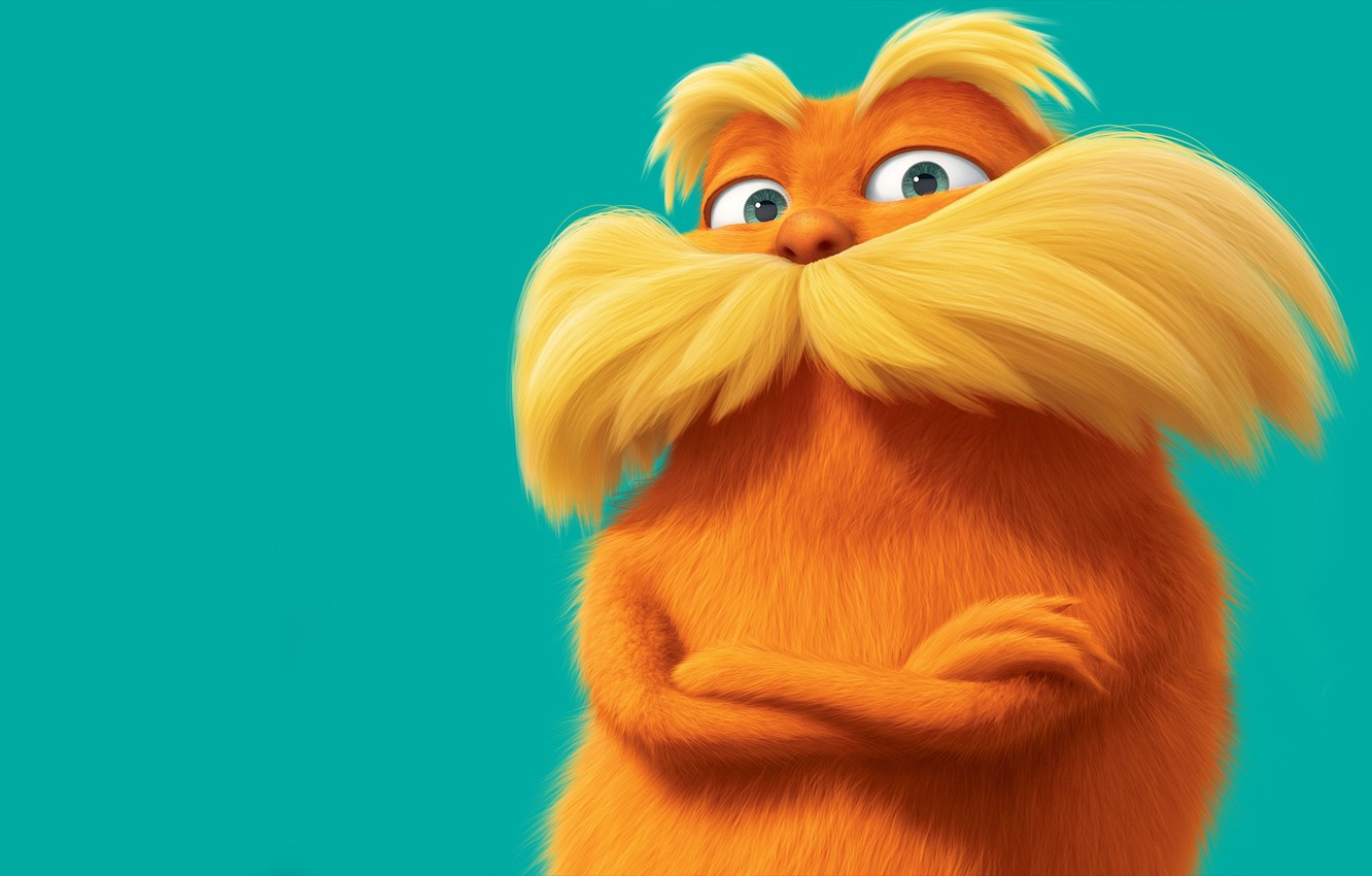 Photo wallpaper orange, blue background, baleen, the lorax, The Lorax