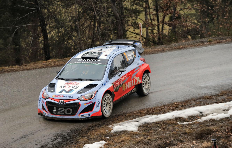 Photo wallpaper Hyundai, WRC, Rally, Monte Carlo, i20, 2015, Neuville