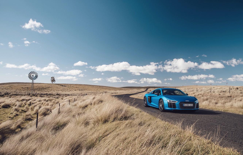 Photo wallpaper road, auto, the sky, grass, blue, Audi, Audi, supercar, supercar, V10
