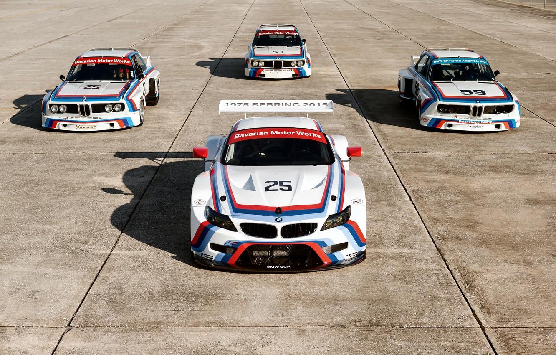 Photo wallpaper BMW, Shadow, Race, 1975, 2015, Sebring, BMW Z4 GTLM, BMW 3.0 CSL
